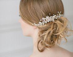 Bridal hair comb Pearl headpiece Pearls bridal by KiCrown on Etsy