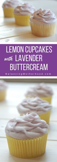 Fresh, light lemon cupcakes with lavender buttercream. The perfect cupcake pairing. Decadent and sophisticated.