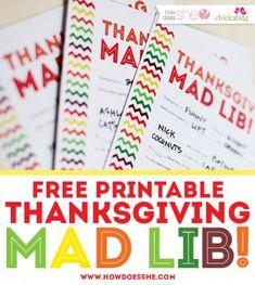 Free Thanksgiving Mad Lib Printable