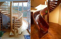 Escalera con tobogán!, lo que hubiéramos pagado por tener uno así en casa de pequeños!