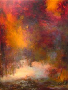 (disponible),  Passions, Boulogne forest 7016 - Peinture,  60x5x80 cm ©2012 par Rikka Ayasaki -                                                            Peinture contemporaine, Toile, Fantaisie, couleur, rouge, abstrait, Bois Boulogne, arbres, paysage, lumière