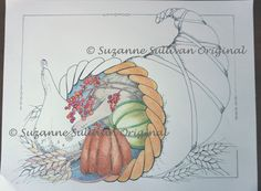 Horn of Plenty Coloring Page Adult Coloring by ColorMeArtStudio