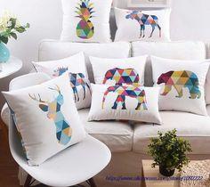 Color animales elefante Deer cojines geométrico arte piña funda de almohada casa de estilo nórdico sofá cojín de terciopelo cubierta en Cojines de Casa y Jardín en AliExpress.com | Alibaba Group