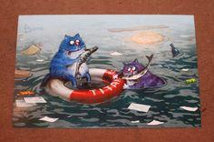 Postcard Russia Cats Shipwrecked Titanic   eBay
