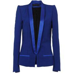 HAIDER ACKERMANN Blazer ($658) ❤ liked on Polyvore featuring outerwear, jackets, blazers, tops, blue, fleece-lined jackets, lapel jacket, blue jackets, blue blazer and blue blazer jacket
