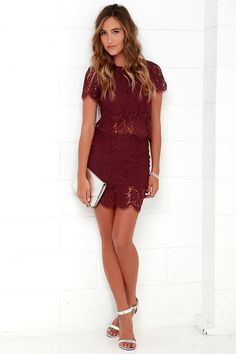 You'll fondly reminisce on all the good times you've had (and will have!) in the Turn Back Time Burgundy Lace Two-Piece Dress! Burgundy eyelash lace overlay shapes a cute crop top with a round neckline and short sleeves. A second layer of lace drops below the scalloped hem to create a sheer, tiered look. Matching skirt finishes off the set with its figure-accentuating fit and tiered mini-length hem. Top has keyhole and button closure at back. Skirt has hidden back zipper/clasp.