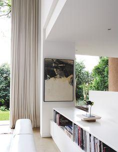 indoor - outdoor flow, curtains + art