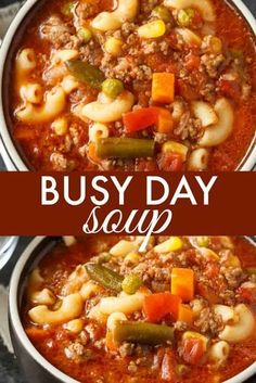 Busy Day Soup Busy Day Soup,Favorite Recipes An easy soup recipe your family will love! It's quick to make and takes little effort. Perfect for those busy weeknights. pot meals dinner recipes for family recipes pot recipes easy cooker recipes Easy Appetizer Recipes, Healthy Soup Recipes, Dinner Recipes, Soup Appetizers, Seafood Recipes, Easy Recipes, Beef Broth Soup Recipes, Chicken Recipes, Appetizer Dessert