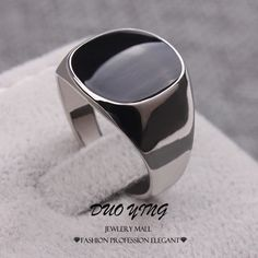 Silver Plated Stainless Black Enamel Signet Ring