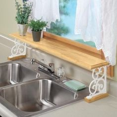 Over the Sink Hard Wood and White Iron Shelf Extra Sturdy