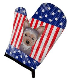 American Flag and Yorkie Puppy Oven Mitt