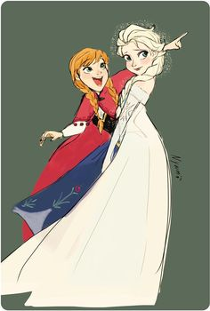 Elsa and Anna by Nyamö #frozen #disney #fanart