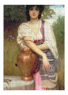 10x14 inch Photo Puzzle with 252 pieces.. BAL11700 At the Well by Perugini, Charles Edward (1839-1918); Roy Miles Fine Paintings; English, out of copyright. copper urn, crt, pitcher, pitcher copper urn crt. Image supplied by Fine Art Finder. Product ID:dmcs_12712695_7049_0 Classic Paintings, Beautiful Paintings, European Paintings, Charles Edward, Pre Raphaelite Paintings, Munier, John Everett Millais, William Adolphe Bouguereau, Victorian Art