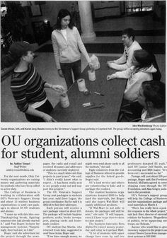 "Post (Athens, Ohio) January 26 2005              . 26 January 2005. Page 5: ""OU organizations collect cash for student, alumni soldiers."" Veteran, donation, overseas, care packages. :: Ohio University Archives. Veterans Memorial Day, Athens Ohio, January 26, Care Packages, Organizations, Photo Editor, Soldiers, Professor, Writer"