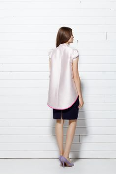 #PLAKINGER #SS15 #collection #LOOK V #Asymmetric hem #top is #crafted from a double-face woven, #ivory and #pink #silk #jacquard. Stand collar, concealed zipper at the back, half-raglan and pleated sleeves, hem trimmed in a contrasting #pink. Pencil #skirt is cut from a #sumptuous, navy #blue virgin #wool and #angora blend. #byplakinger.com #fashion #feminine #style #newbrand #newcollection #ss2015 #springsummer15 #emergingdesigner #brand #newcollection2015 #pencilskirt #navyblue