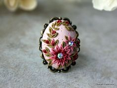 Pretty Polymer Clay Floral Applique Ring in by charancreations