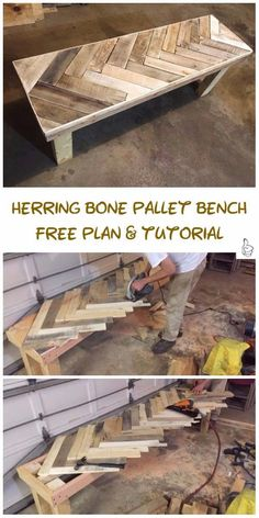 DIY Outdoor Seating Projects Tutorials - DIY Herring Bone Patterned Pallet Bench Tutorial DIY Outdoor Seating Projects Tutorials & Free Plans: Outdoor Bench, Outdoor Chair, X bench, Bench with Table, Bench with Built in cooler DIY Instructions Pallet Garden Furniture, Diy Outdoor Furniture, Diy Furniture Projects, Woodworking Projects Diy, Woodworking Furniture, Woodworking Plans, Furniture Cleaning, Learn Woodworking, Woodworking Techniques