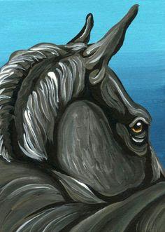 ACEO ATC Black Horse Pony Art Original Miniature Painting-Carla Smale #Realism
