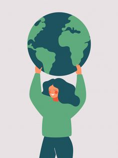Happy Woman Holds The Green Planet Earth. Vector Illustration Of Earth Day And Saving Planet Woman Illustration, Flat Illustration, Earth Day, Planet Earth, Art Environnemental, Earth Drawings, Save Our Earth, Environmental Art, Happy Women