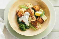 Dinner is taken care of quick-smart with pan-fried salmon, tangy yoghurt and grilled capsicum couscous. Pan Fried Salmon, Whats For Lunch, Serving Dishes, Mint, Healthy Recipes, Dinner, Cooking, Yogurt