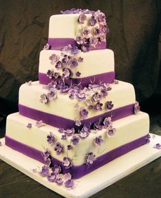 """""""Purple Wedding Cake"""" - I like the square; and simplicity minus the flowers Violet Wedding Cakes, Purple Wedding, Trendy Wedding, Aubergine Wedding, Summer Wedding, Dream Wedding, Wedding Cake Photos, Wedding Cake Designs, Beautiful Cakes"""