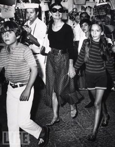 Jackie Kennedy Onassis in Capri with her niece and nephew, 1970.