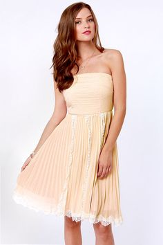 Pretty Blush Pink Dress - Strapless Dress - Lace Dress - $81.00