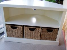Solid Wooden Corner TV Stand Unit in White with 3 Baskets