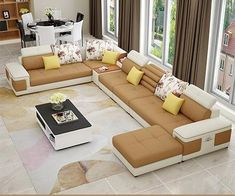 new modern sofa design - Decoration landscaping architectural and artistic designs & decoration videos Sofa Set Designs, L Shaped Sofa Designs, Latest Sofa Designs, Wooden Sofa Designs, Wooden Sofa Set, Sofa Living, Living Room Sofa Design, Living Room Designs, Corner Sofa Design