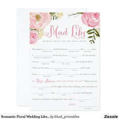 Romantic Floral Wedding Libs Game Card