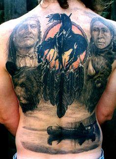 Native American Full Back Tattoo - 70 Native American Tattoo Designs Native American Tattoos, Native Tattoos, Native American Indians, Hart Tattoo, Diy Tattoo, Life Tattoos, Cool Tattoos, Tatoos, Bad Tattoos