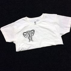 Female Reproductive System Women's Rights Feminist Hand Embroidered Custom T-shirt [[[HALF proceeds go to Planned Parenthood]]]