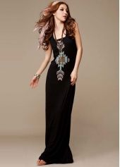 Pure Black Pattern Print Scoop Neck Maxi Dress
