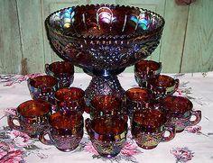 Vintage RARE Amber Imperial Carnival Glass Grape 14pc Punch Bowl Set Mint | eBay