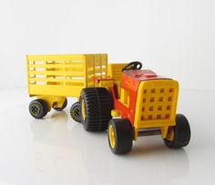 "Tonka Tractor Trailer Toy Metal Orange Yellow Vintage 8"" Farm Toy"