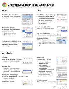 Google Chrome Dev Tools #cheatsheet