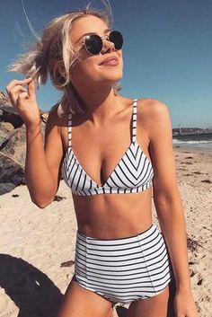 Striped High Waist Bikini. Χαριτωμένα ΜπικίνιΜπλούζεςΕίδη ΈνδυσηςΡίγες ΜαγιόΜαγιόΚαλοκαίρι ddbd278183b