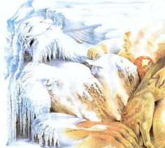 From Ymir's left armpit, the first man and woman were born. From his legs, the frost jötnar were born, making Ymir the progenitor of the jötnar. Most sources identify Ymir's oldest son as Thrudgelmir, who bore Ymir's grandson, Bergelmir. The other jötnar are usually unnamed. Ymir fed on the milk of the cow Auðhumla. She licked the blocks of salty ice, releasing Búri.