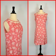 1960's MOD Red and White Gingham Print by KrisVintageClothing