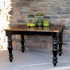 distressed painted wood farmhouse dining table done in black with natural top Vintage Industrial Furniture, Distressed Furniture, Painted Furniture, Furniture Makeover, Diy Furniture, Building Furniture, Furniture Design, Turned Table Legs, Distressing Painted Wood