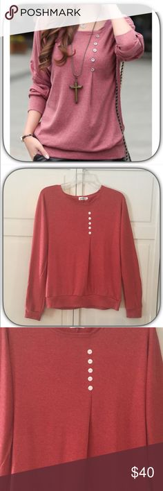 NWT Soft Salmon Pink Ling Sleeve Button T-Shirt This is a really cool color! The second pic is closer in color! It is very soft and comfortable! I get a lot of wear out of mine! Great closet piece! Boutique Tops Tees - Long Sleeve