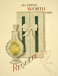 Affiche Les Parfums Worth , Requête - Paris, France - 1930 - illustration de R Biais Sibia -
