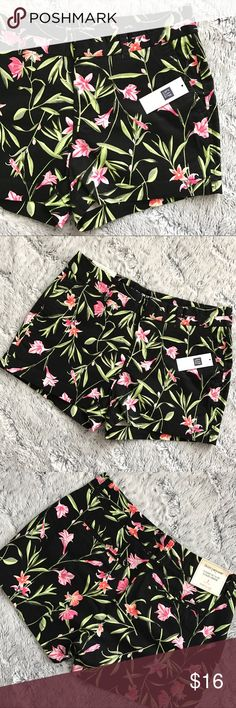 Gap Floral Shorts Gap Floral Shorts  - NWT  - Sizes 0, 2, 4, 6, 8 - Black with pink & green Floral pattern  - 3 inch inseam  - Gold zipper and closures  - Front pockets  - Faux back pockets   Please let me know if you'd like length & waist measurements for a certain size! GAP Shorts