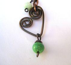 Bohemian heart necklace mixed metal jewelry by SunshineDaydreamz