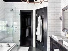 Timeless Black and White Master Bathroom Makeover | Bathroom Ideas & Design with Vanities, Tile, Cabinets, Sinks | HGTV