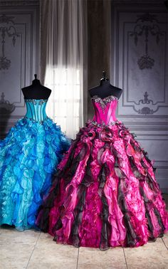 Pink and Blue Ball Gowns - Bride and Bridesmaids
