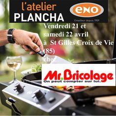 Atelier Plancha ENO vendredi 21 et samedi 22 avril chez @MrBricolage à Saint Gilles Croix de Vie (85) - Cours de cuisine à la plancha avec un chef pour apprendre à cuisiner sur la Plancha ENO. Conseils et astuces de cuisson et de nettoyage. Cours de cuisine sur réservation auprès du magasin au 02 51 54 80 29
