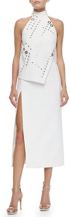 Mugler High-Slit Asymmetric Grommet-Trimmed Dress - Click the link for product details :) White Fashion, Love Fashion, Womens Fashion, Fashion Design, Sexy Dresses, Casual Dresses, Fashion Dresses, Moda Outfits, White Outfits