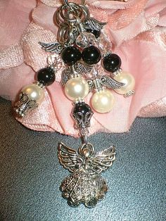 Angel White Black Silver purse charm