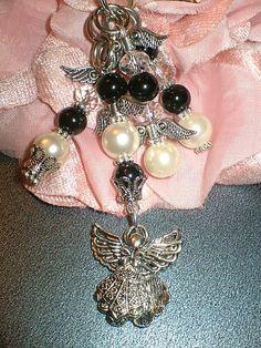 Bogo Sale Whimsical Angel White Black Silver by dazzlingstones, $15.00